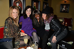 Left to right, TILLY WOOD, SALLY WOOD, JUNE SARPONG and TARA SMITH at a party to launch Madderson London Women's Wear held at Beaufort House, 354 Kings Road, London on 23rd January 2014.