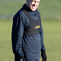 St Johnstone Training…28.12.18    McDiarmid Park<br />All smiles on the face of brithday boy Danny Swanson pictured during training this morning ahead of tomorrow's game at Dundee.<br />Picture by Graeme Hart.<br />Copyright Perthshire Picture Agency<br />Tel: 01738 623350  Mobile: 07990 594431