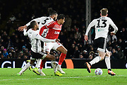 Lukas Nmecha (20) of Middlesbrough on the attack during the EFL Sky Bet Championship match between Fulham and Middlesbrough at Craven Cottage, London, England on 17 January 2020.