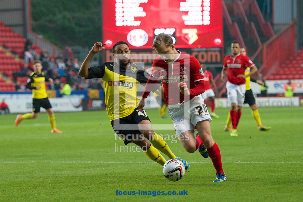 Chris Solly of Charlton Athletic and Ikechi Anya of Watford during the Sky Bet Championship match at The Valley, London<br /> Picture by Alan Stanford/Focus Images Ltd +44 7915 056117<br /> 29/04/2014
