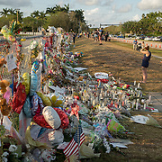 TUESDAY, FEBRUARY 27- 2018---PARKLAND, FLORIDA--<br /> Mourners look at offerings left at Marjory Stoneman Douglas High School  for the victims of February 14 school massacre.<br /> (Photo by Angel Valentin/FREELANCE)