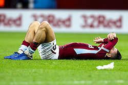Jack Grealish of Aston Villa collapses to the ground at full time after his side's 5-5 draw with Nottingham Forest - Mandatory by-line: Robbie Stephenson/JMP - 28/11/2018 - FOOTBALL - Villa Park - Birmingham, England - Aston Villa v Nottingham Forest - Sky Bet Championship
