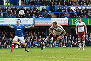 Charlie Wyke (9) of Bradford City has a headed shot at goal during the EFL Sky Bet League 1 match between Portsmouth and Bradford City at Fratton Park, Portsmouth, England on 28 October 2017. Photo by Graham Hunt.