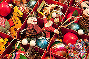 Christmas tree ornaments and decorations.