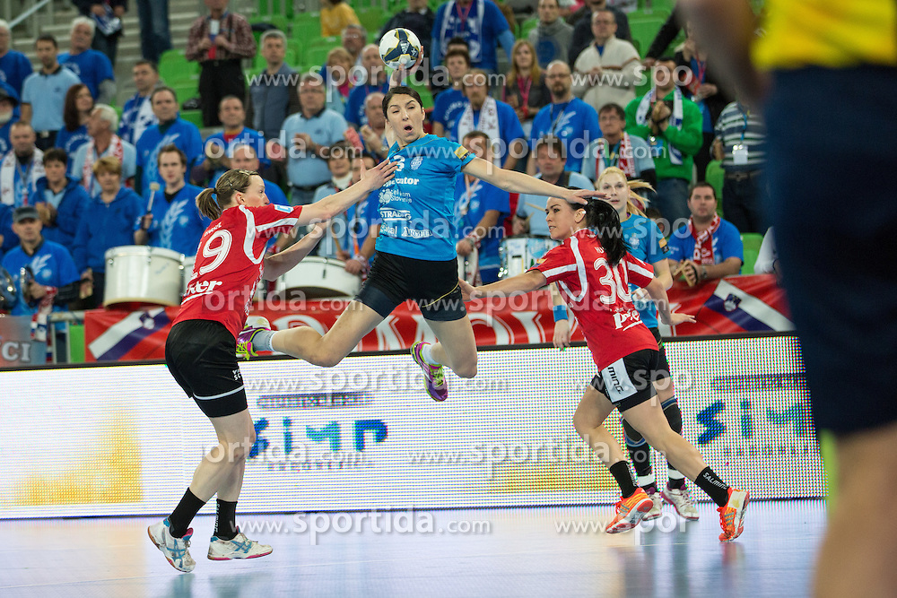 Mirjeta Bajramoska of RK Krim Mercator during handball match between RK Krim Mercator (SLO) and Thüringer HC (GER) in 6th Round of Women's EHF Champions League 2014/15, on January 31, 2015 in Arena Stozice, Ljubljana, Slovenia. Photo by Matic Klansek Velej / Sportida