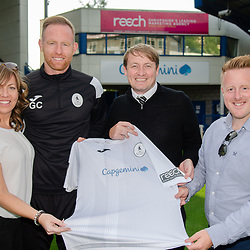 AFC Telford United pre-season photoshoot at the New Bucks Head Stadium on Thursday, August 1, 2019<br /> <br /> Gavin Cowan and Andy Pryce with representatives from Reech Media<br /> <br /> Free for editorial use only<br /> Picture credit: Mike Sheridan/Ultrapress<br /> <br /> MS201920-004