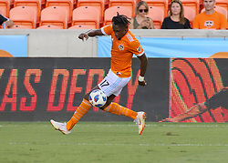 July 18, 2018 - Houston, TX, U.S. - HOUSTON, TX - JULY 18:  Houston Dynamo forward Alberth Elis (17) controls the ball during the US Open Cup Quarterfinal soccer match between Sporting KC and Houston Dynamo on July 18, 2018 at BBVA Compass Stadium in Houston, Texas. (Photo by Leslie Plaza Johnson/Icon Sportswire) (Credit Image: © Leslie Plaza Johnson/Icon SMI via ZUMA Press)