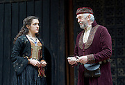 The Merchant of Venice <br /> by William Shakespeare <br /> at The Globe Theatre, London, Great Britain <br /> 25th April 2015 <br /> <br /> Jonathan Pryce as Shylock <br /> <br /> Phoebe Pryce as Jessica <br /> <br /> Photograph by Elliott Franks <br /> Image licensed to Elliott Franks Photography Services