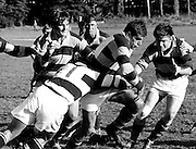 Colin Meads in action from King Country's first 50th Jubilee match against Auckland at Taumarunui on 17 June 1972. Behind Meads is Graham Whiting, Bill Symonds and Wayne March (right).<br /> <br /> Copyright photo: Ron Cooke/Photosport.co.nz
