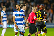 Queens Park Rangers forward Nahki Wells (21) shows disappointment at the referees decision to award Brentford a free kick during the EFL Sky Bet Championship match between Queens Park Rangers and Brentford at the Kiyan Prince Foundation Stadium, London, England on 28 October 2019.