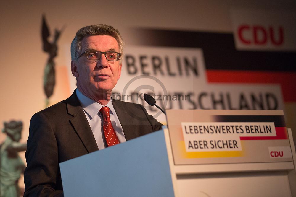 Berlin, Germany - 16.05.2017<br /> <br /> Bundesinnenminister Thomas de Maizi&egrave;re beim Buergerkonvent der CDU Berlin.<br /> <br /> Photo: Bjoern Kietzmann