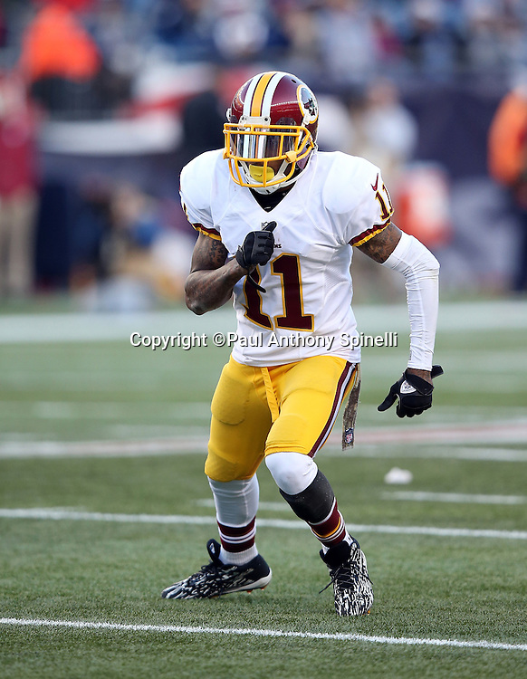 Washington Redskins wide receiver DeSean Jackson (11) goes out for a pass during the 2015 week 9 regular season NFL football game against the New England Patriots on Sunday, Nov. 8, 2015 in Foxborough, Mass. The Patriots won the game 27-10. (©Paul Anthony Spinelli)