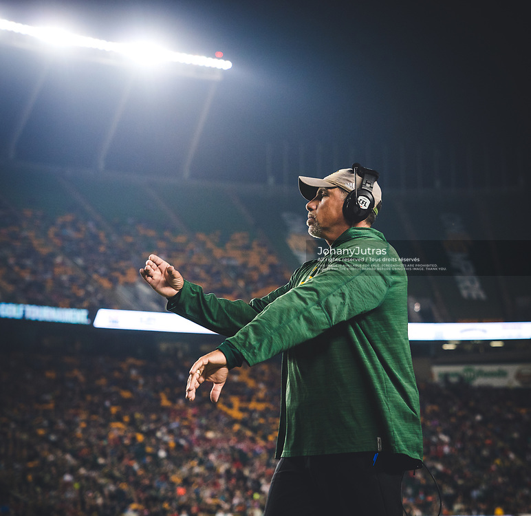 Edmonton Eskimos defensive coordinator Mike Benevides during the game against the Calgary Stampeders at Commonwealth Stadium in Edmonton AB, Saturday, September 9, 2017. (Photo: Johany Jutras)