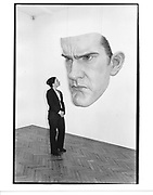 Clarissa Berning looking at mask by Ron Mueck. Anthony D'offay. London. 28 April 1998. © Copyright Photograph by Dafydd Jones 66 Stockwell Park Rd. London SW9 0DA Tel 020 7733 0108 www.dafjones.com