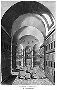 Interior of Hagia Sophia, Constantinople, completed as cathedral in 537. Here in use as a Mosque. Engraving, 1815.