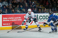 KELOWNA, CANADA - JANUARY 2: Kole Lind #16 of Kelowna Rockets looks for the pass against the Victoria Royals on January 2, 2016 at Prospera Place in Kelowna, British Columbia, Canada.  (Photo by Marissa Baecker/Shoot the Breeze)  *** Local Caption *** Kole Lind;