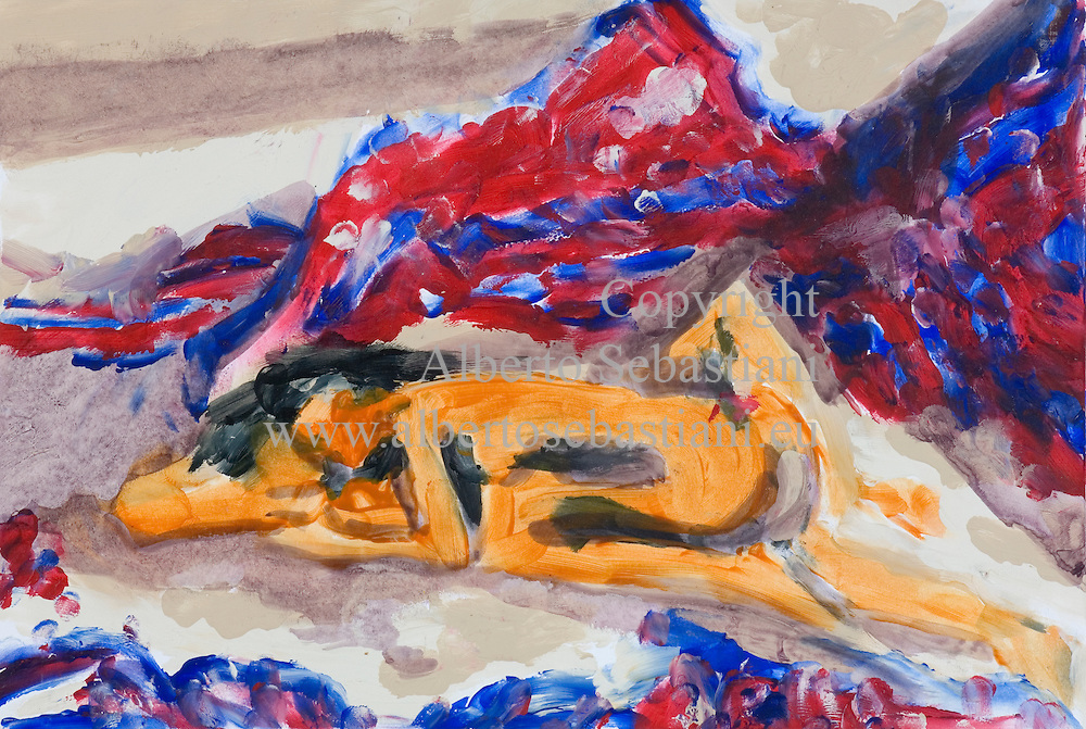 an original painting representing a couple in bed