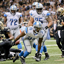 Dec 21, 2015; New Orleans, LA, USA; Detroit Lions running back Joique Bell (35) celebrates after a touchdown against the New Orleans Saints during the second half of a game at the Mercedes-Benz Superdome. The Lions defeated the Saints 35-27. Mandatory Credit: Derick E. Hingle-USA TODAY Sports