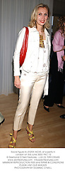 Social figure ALLEGRA HICKS, at a party in London on 3rd June 2003.PKC 12
