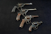 Webley revolvers - Top to bottom, Mark VI, Fosbery .38, RIC, Bulldog