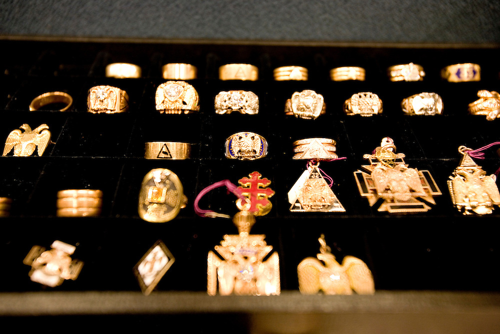 Medals and rings of the Freemasons in Washington, D.C. on Nov. 16, 2009.