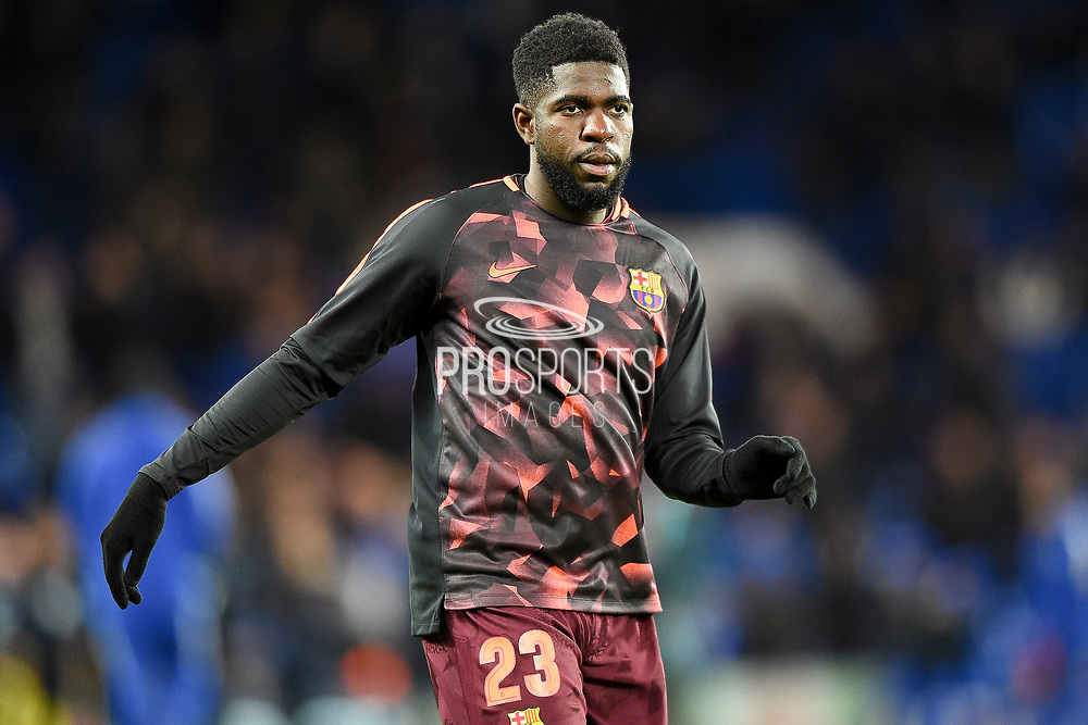 Barcelona defender Samuel Umtiti  (23) warms up ahead of the Champions League match between Chelsea and Barcelona at Stamford Bridge, London, England on 20 February 2018. Picture by Martin Cole.