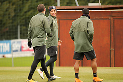 March 6, 2018 - Vinovo, Piedmont, Italy - From left: Gonzalo Higuain (Juventus FC), Paulo Dybala (Juventus FC) and Douglas Costa (Juventus FC) during the training on the eve of the second leg of the Round 16 of the UEFA Champions League 2017/18 between Juventus FC and Tottenham Hotspur FC at Juventus Training Center on 06 March, 2018 in Vinovo (Turin), Italy. (Credit Image: © Massimiliano Ferraro/NurPhoto via ZUMA Press)