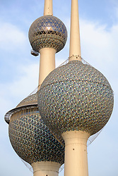 Detail of Kuwait Towers in Kuwait City, Kuwait.