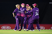 Lucy Higham, Kirstie Gordon Georgia Elwiss and Abigail Freeborn of Loughborough Lightning celebrate the wicket of Danielle Wyatt during the Women's Cricket Super League match between Southern Vipers and Loughborough Lightning at the Ageas Bowl, Southampton, United Kingdom on 28 August 2019.