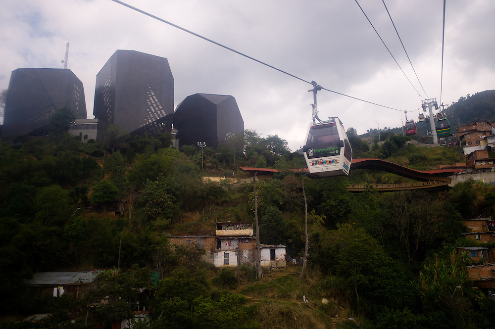 Looking up towards the Biblioteca España (Spain Library) from the  cable car heading towards Santo Domingo Savio in Medellín, Antioquia, Colombia.