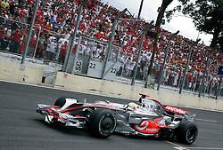 SAO PAULO, BRAZIL - Sunday, November 2, 2008: Lewis Hamilton (GBR, Vodafone McLaren Mercedes) during the Brazilian Formula One Grand Prix at the Interlagos Circuit. (Photo by Juergen Tap/Hochzwei/Propaganda)