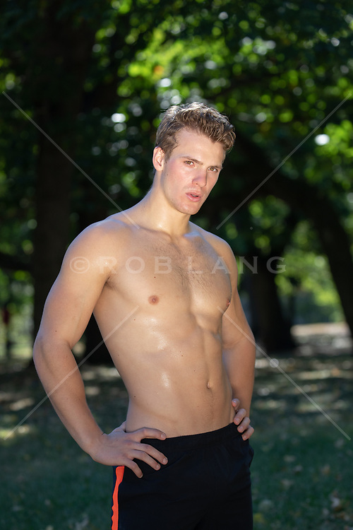 hot shirtless sweaty man in the park