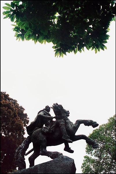 Nederland, Nijmegen, 26-9-2008Standbeeld van Keizer Karel de Grote. Het beeld staat in een parkje in het midden van het drukke keizerkarel plein.Statue of Emperor Charlemagne. The statue is situated in a park in the middle of the busy square Emperor Charlemagne.Foto: Flip Franssen/Hollandse Hoogte