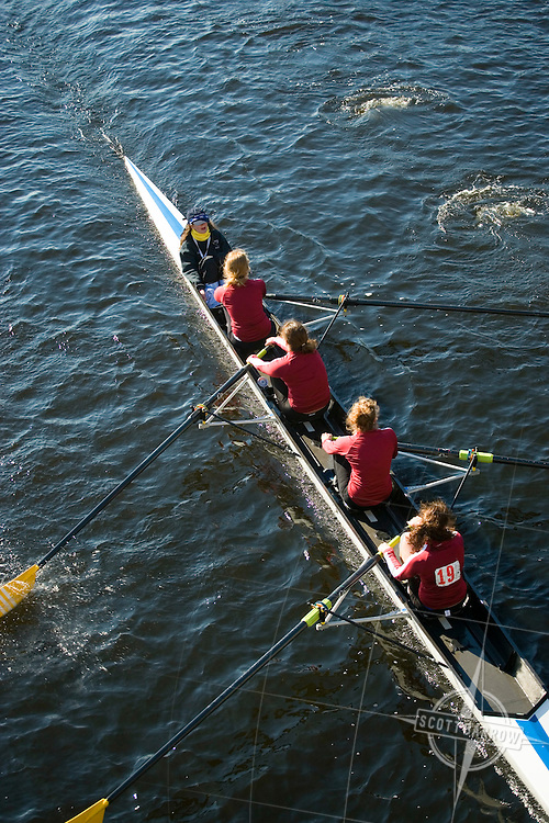 Rowers on the Charles River in Boston, MA.  Rowing Scull. Cambridge, MA.