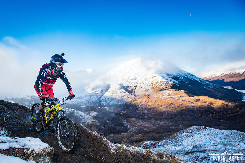 Joe Robson of the Army Enduro MTB Team tackles stage one of the Kinlochleven Enduro.