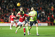 Bristol City striker, Jonathan Kodjia (22) attempts to control the ball during the Sky Bet Championship match between Bristol City and Brighton and Hove Albion at Ashton Gate, Bristol, England on 23 February 2016. Photo by Shane Healey.