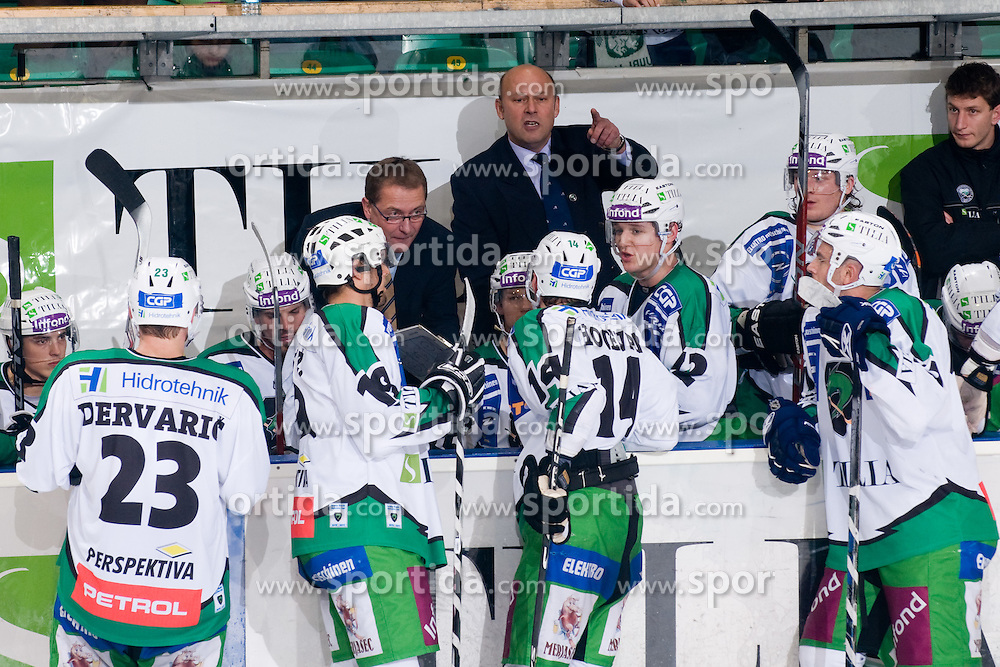 Bench of HDD Tilia Olimpija during ice-hockey match between HDD Tilia Olimpija and EHC Liwest Black Wings Linz in 19th Round of EBEL league, on November 7, 2010 at Hala Tivoli, Ljubljana, Slovenia. (Photo By Matic Klansek Velej / Sportida.com)
