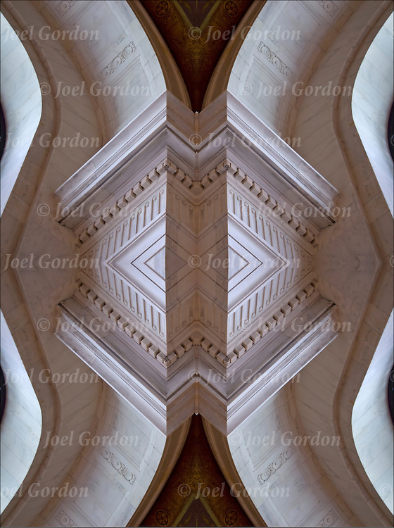 Computer altered, manipulated to create an abstract distortion of a close up of Beaux Art style architecture  in Alexander Hamilton U.S. Custom House.