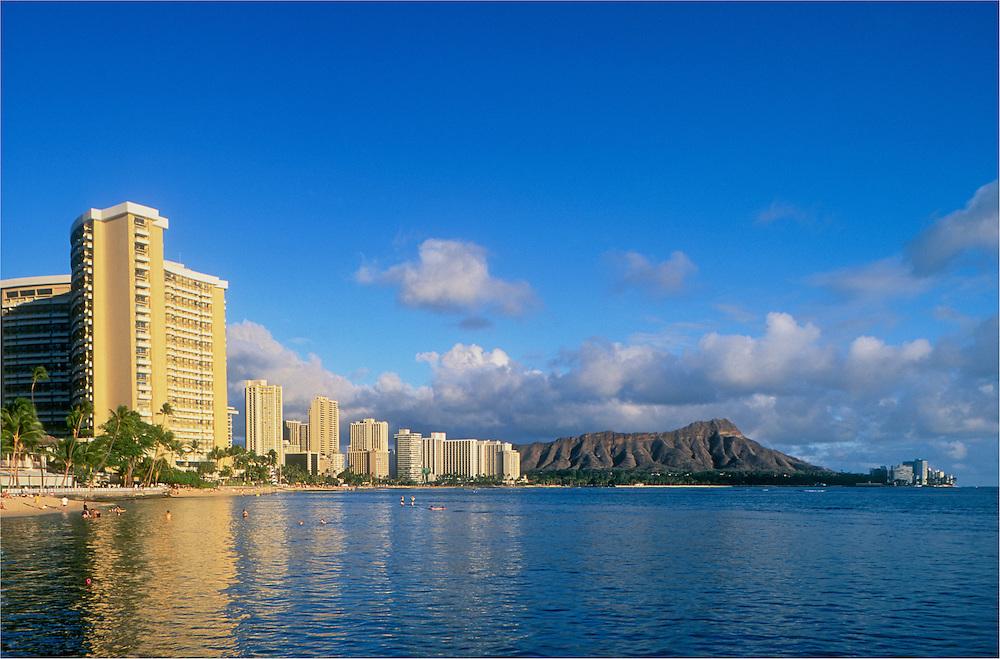 Waikiki Beach hotels and Diamond Head; Honolulu, Oahu, Hawaii.