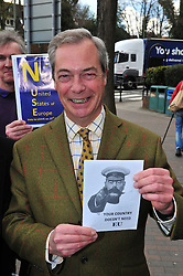© Licensed to London News Pictures. 30/04/2016<br />  NIGEL FARAGE UKIP Leader. <br /> <br /> UKIP Leader Nigel Farage campaigning with UKIP's London Mayoral candidate Peter Whittle in Orpington High Street,Orpington,Kent today (30.04.2016).<br /> <br /> (Byline:Grant Falvey/LNP)