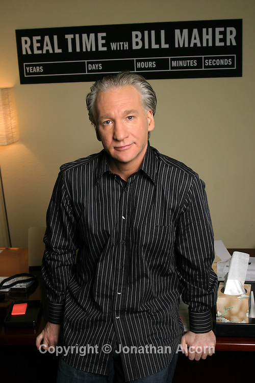 """Comedian and political commentator Bill Maher, the star and host of """" Real Time with Bill Maher"""" on HBO. Photographed in his office in Hollywood.."""