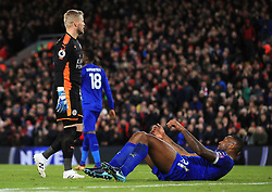 Kasper Schmeichel and Wes Morgan of Leicester City look dejected after conceding the second goal - Mandatory by-line: Matt McNulty/JMP - 30/12/2017 - FOOTBALL - Anfield - Liverpool, England - Liverpool v Leicester City - Premier League