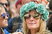 Fans of all ages watch Wolf Alice play the  Pyramnid stage - The 2016 Glastonbury Festival, Worthy Farm, Glastonbury.