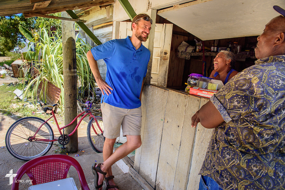 The Rev. Duane Meissner, career missionary to Belize, meets local residents on Tuesday, Sept. 27, 2016, in Seine Bight, Belize. Meissner's objective is to plant the first Lutheran churches in the country. LCMS Communications/Erik M. Lunsford