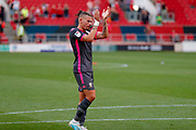 Leeds United midfielder Kalvin Phillips (23) applauds the fans after the victory in the EFL Sky Bet Championship match between Bristol City and Leeds United at Ashton Gate, Bristol, England on 4 August 2019.
