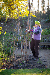 Taking down plant support structures ready to store over winter