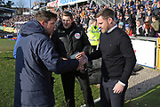 Bristol Rovers manager Darrell Clarke meets Scunthorpe United Manager Graham Alexander during the EFL Sky Bet League 1 match between Bristol Rovers and Scunthorpe United at the Memorial Stadium, Bristol, England on 24 February 2018. Picture by Gary Learmonth.