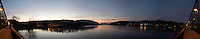 Pano of the Delaware River from the Lambertville - New Hope Bridge at Dawn. Composite of 5 images taken with a Nikon 1 V1 camera and 10 mm f/2.8 lens using Kolor AutoPano Giga Pro.