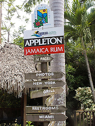Directional sign pointing to Appleton Jamaica Rum, White River Valley, Ocho Rios, St. Ann, Jamaica
