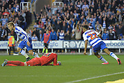 Reading's Nick Blackman and Reading's Matej Vydra turn and celebrate Reading's goal during the Sky Bet Championship match between Reading and Brighton and Hove Albion at the Madejski Stadium, Reading, England on 31 October 2015. Photo by Mark Davies.